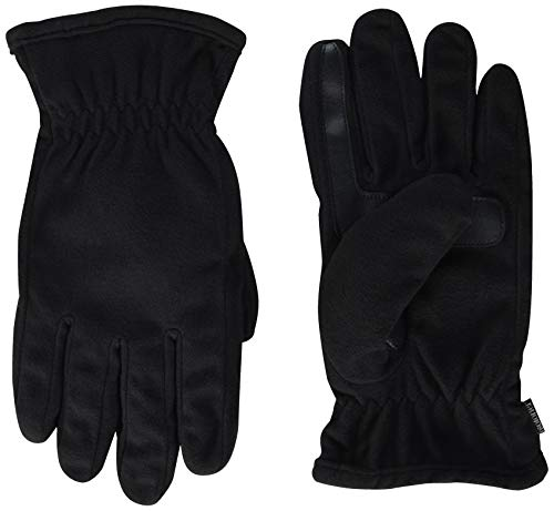 isotoner Men's Fleece Touchscreen Glove, Water-Repellent with a Sherpa Soft Lining, Black, Large