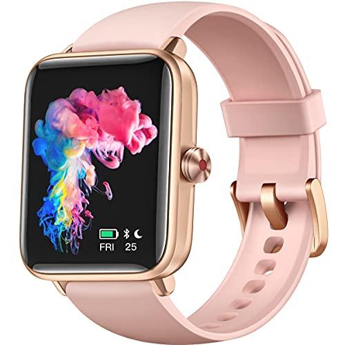 Dirrelo Smartwatch per Donna Uomo, Fitness Tracker Touchscreen 1.55 , Cardiofrequenzimetro del Sonno e della Salute, Cronometro Contapassi, Orologio Resistente all Acqua IP68 per iOS Android-Rosa