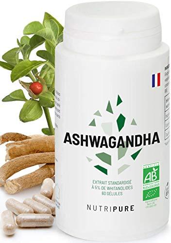 Ashwagandha bio KSM66® • Plante adaptogène de l'Ayurvéda • Bien-être intellectuel et physique • Aide à gérer le stress • Extrait de racine 5% de withanolides • vegan • 60 gélules • 1 Mois • NUTRIPURE