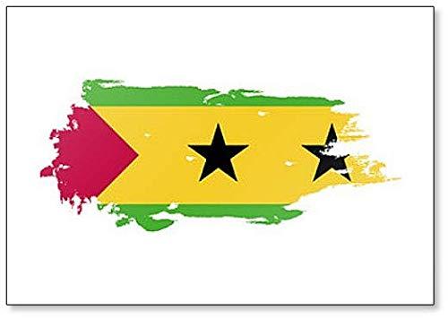 Kühlschrankmagnet Sao Tome & Principe Flagge Grunge Brush Style