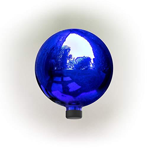 Alpine Corporation GLB292BL Glass Gazing Globe Outdoor Festive Holiday Décor for Garden, Lawn, Yard, 10-Inch, Blue