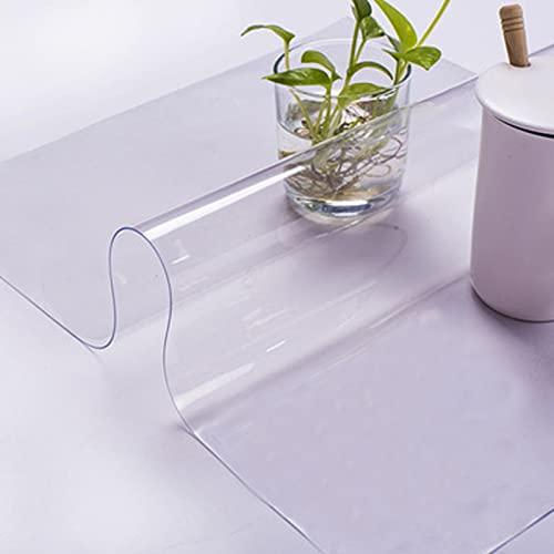 HHUU Tovaglia in PVC trasparente, spessore 1,5 mm, cuscino di protezione antiscivolo, copertura impermeabile per tavolo da pranzo in legno, copertura protettiva per scrivania MA, 80 × 130 cm