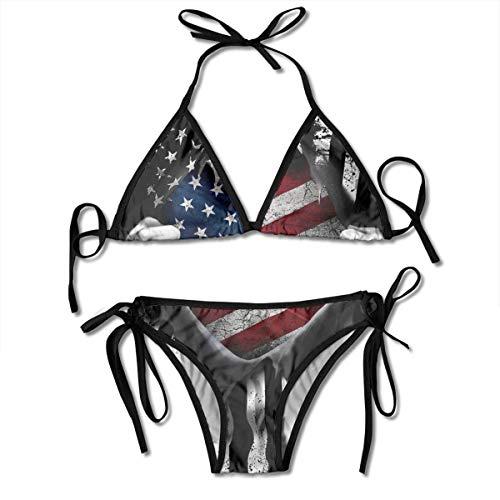 USA Flagge auseinander ziehen Amerika Bikini Set Strandbadebekleidung Zweiteiliger Bikini Badeanzug für Frauen Mädchen Beachwear Schwarz