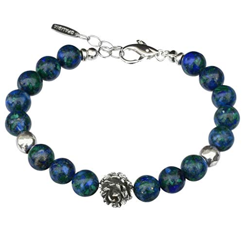 BONA ROCA Azurit-Malachit Armband, Rosenbead und Spacer in Sterling Silber OA2318