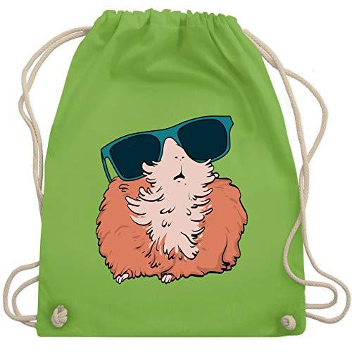 Shirtracer Sonstige Tiere - Meerschweinchen mit Sonnenbrille - Unisize - Hellgrün - meerschweinchen - WM110 - Turnbeutel und Stoffbeutel aus Baumwolle