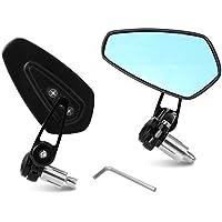 """Yizhet 7/8"""" 22 mm Espejos de manillar de la motocicleta Espejo retrovisor de la moto de CNC aluminio universal Se (Negro)"""