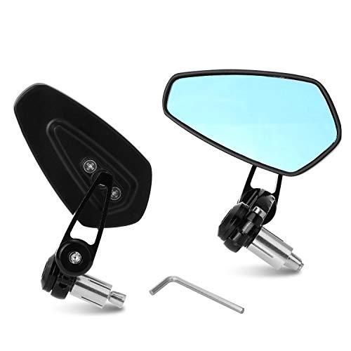 Yizhet 7/8' 22 mm Espejos de manillar de la motocicleta Espejo retrovisor de la moto de CNC aluminio universal Se (Negro)