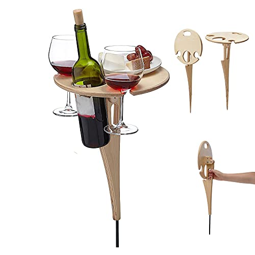 Mesa de vino portátil – Mesa de vino al aire libre, mesa de picnic, soporte para copas de vino de picnic al aire libre, mesa plegable para jardín, camping, playa, viajes