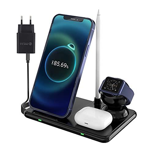 Cargador inalámbrico Qi 4 en 1, estación de carga inductiva compatible con iPhone /11 Pro Max/XS MAX/XR/XS/X/8/8+, Galaxy Note 10/S10e/S10/S9, AirPods