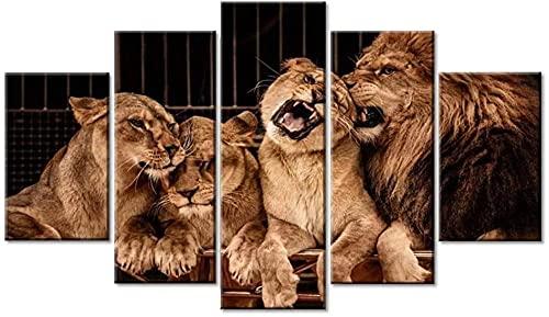 Leinwandbilder Poster Modular Wall Art 5 Stücke Tiere Löwe Familie HD Druck für Zuhause Wohnzimmer Rahmenlos