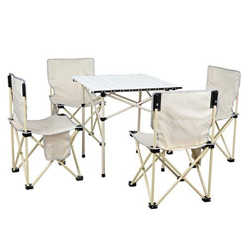 mesas y sillas Camping, Mesa Plegable Camping con sillas Dentro Mesa portatil...