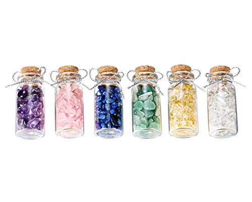 Jovivi - Juego de 6 mini cristales y piedras preciosas. Botellas de cristal. Kit de colección en caja de madera para curación de la meditación Chakra Reiki amuleto de la suerte