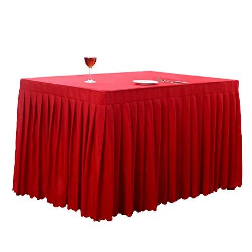 Anguang Pflegeleicht Tischdecke Mode Zuhause Hochzeit Dekoration Tischrock Konferenztisch Rock Rot (180 * 60 * 75 cm)