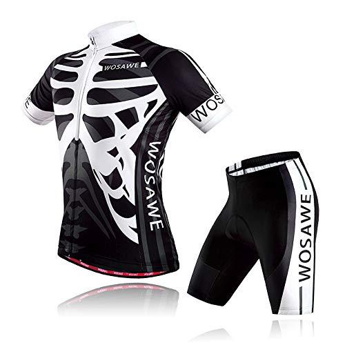 Lixada Set di Abbigliamento da Ciclismo da Uomo Traspirante Maglia Manica Corta e Pantaloncini Imbottiti Asciugatura Veloce Tute da Bicicletta per MTB Bici da Corsa