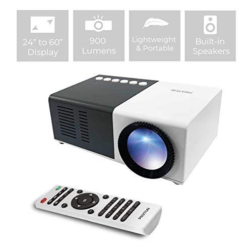 PRIXTON - Mini Proiettore portatile   MIni Proiettore LED Full HD portatile, 900 lumen, Connessione HDMI, USB, MicroSD, Aux in, AV in, Altoparlanti integrati e Telecomando inclusi | Cinema Mini