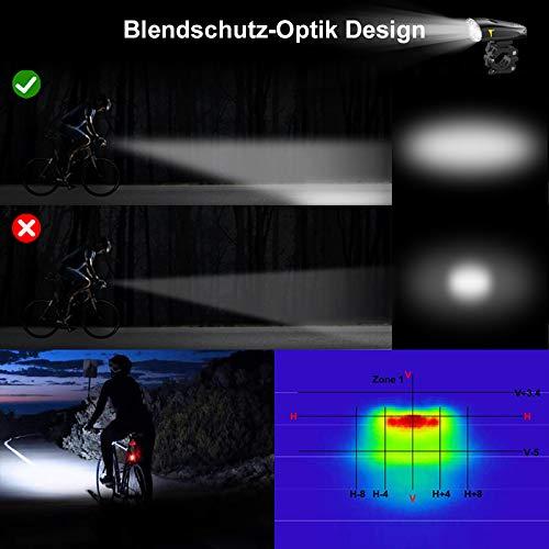 LIFEBEE LED Fahrradlicht, USB Fahrradbeleuchtung Fahrradlicht Vorne Rücklicht Set, Wasserdicht Fahrradlichter Set Fahrrad Licht Fahrradleuchtenset Fahrradlampe Frontlicht mit 2 Licht-Modi - 4