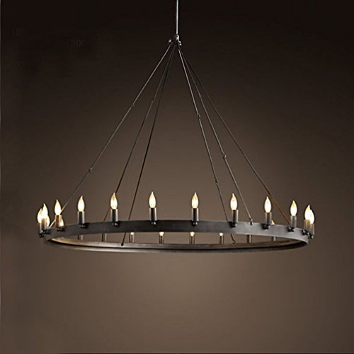 Aiwen Wrought Iron Lamps Country Retro Simple Chandelier Black 18 lamp Holders
