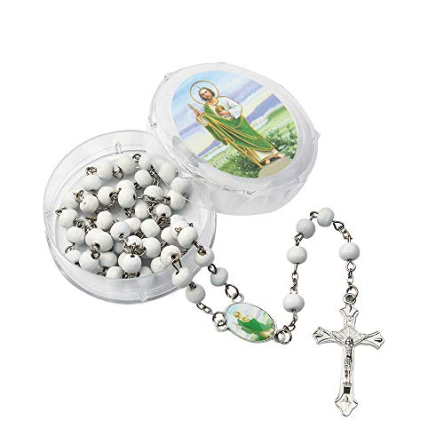 12 Pcs Baptism Party Favors White Scented Wood Rosary Guardian Baby Angel Our Lady of Guadalupe San Judas First Communion Boy& Girl Recuerdos de Bautizo Communion (San Judas White)