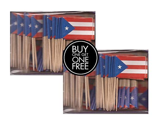 2 Boxes Mini Puerto Rico Toothpick Flags, BOGO Buy 1 Box of 100 and Get Another Box Free, Total 200 Small Mini Puerto Rican Flag Cupcake Toothpicks or Tiny Cocktail Sticks & Picks