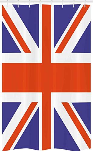 ABAKUHAUS Union Jack Schmaler Duschvorhang, Britisches Loyalsymbol, Badezimmer Deko Set aus Stoff mit Haken, 120 x 180 cm, Königsblau Weiß Rot