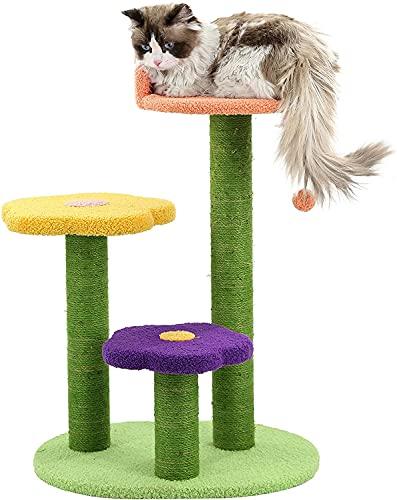 JZTOL Katzenbaum Mit Sisal-Kratzer-Pfosten, Mehrstufige Katzenbaumwohnung Mit Hängemattenpfosten Für Kätzchen, Katzenbaum-Katzenturm Für Indoor-Katzen