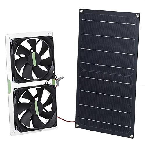 Linsition Ventilador extractor de doble panel solar, 12 V, 100 W, para exteriores, IPX7, impermeable, portátil, monocristalino, para caravanas, invernaderos, casas de animales, gallinero, desván