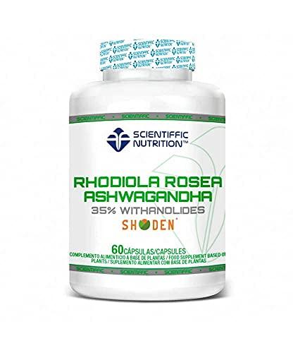Rhodiola Rosea y Ashwagandha - 60 cápsulas - Plantas Adaptógenos naturales - Reduce Estrés emocional y Ansiedad - Relajante del sistema nervioso - Mejora Insomnio -