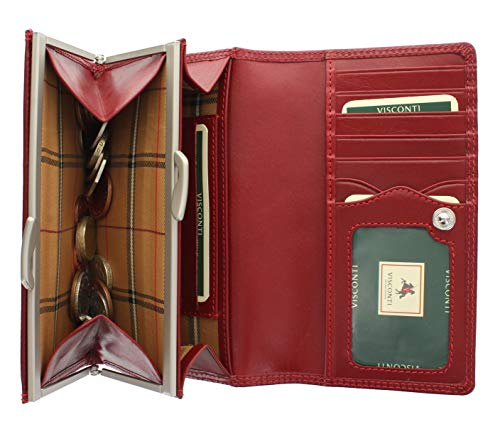 Visconti Monza-Kollektion MARIA Damen Geldbörse Geldbeutel Leder, pflanzlich gegerbt, mit Klippverschluss mit RFID-Schutz MZ12 Rot