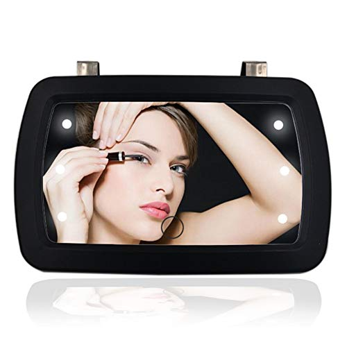 Sun Visor Mirror Clip on,Silence Shopping Car Makeup Vanity Mirror Car Sun Visor Mirror LED Make Up Mirror HD Sun-Shading Cosmetic Mirror Finger Touch Switch Mirror Auto Supplies 1 Pc (Black Lighted)