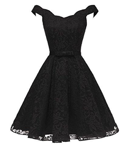 Short Wedding Guest Dresses Lace Off The Shoulder Evening Dress for Women,8 Black