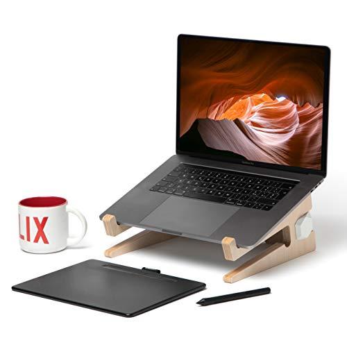 Playwood. it UP+ laptopstandaard van berkenhout, met toetsenbord van echt hout, voor Mac Book Pro/Huawei Matebook/MacBook Air/notebook/iPad laptop 30 x 27 x 14 cm Connettori Bianchi