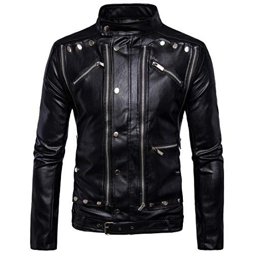 TFGY Herren Kunstleder Jacke Biker-Look Lederjacke dünn gefütterte Übergangsjacke-Mehrfacher Reißverschluss,Black,XXL