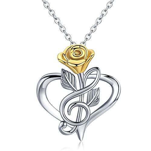Sunflower Music Note Necklace 925 Sterling Silver Sunflower Rose Flower Heart Pendant Inspirational Jewelry Stocking Stuffers for Women lady