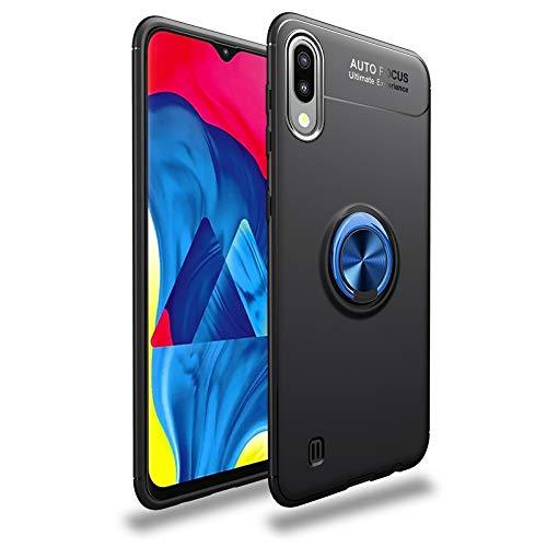Happy-L Caso Samsung Galaxy M10, Samsung M10 Slim Soft TPU Case, Funda a Prueba de choques de 4 órdenes WTIH Metal Anillo Kickstand/Bulit-in Placa de Hierro [Trabajo con el Titular del teléfono