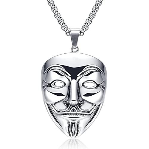 Vendetta Anonymous Maschera Collana Hip Hop Ciondolo Maschera Collana A Catena In Acciaio Inossidabile Regalo Di Gioielli Di Moda Da Uomo