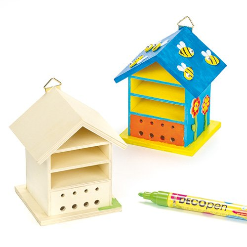 Baker Ross Wooden Bug House Craft Kits (Pack of 2) Bughouses to paint and Decorate