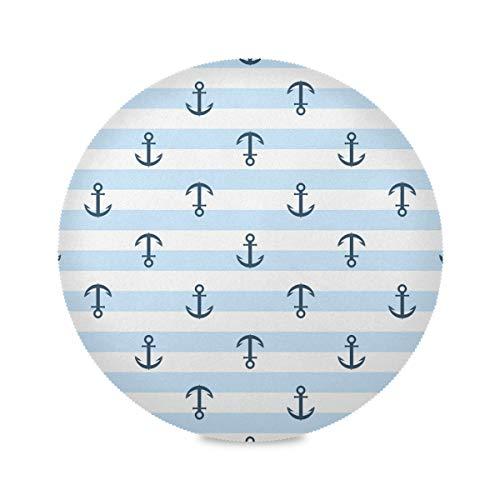 TropicalLife SunsetTrip Runde Platzsets, maritimes Anker, gestreift, rutschfest, hitzebeständig, für Küche, Esstisch, Kaffee, Garten