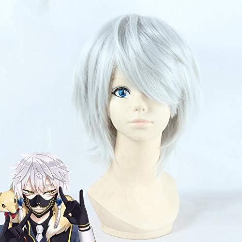 Challenge the lowest price of Japan Touken Ranbu Online Nakigitsune Wig Cosplay Silver Costume half Gray
