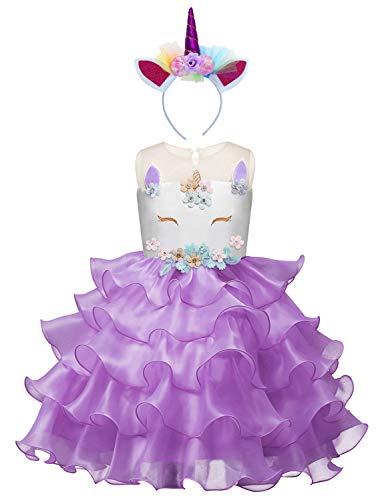 Eleasica Vestido Princesa Estampado Floral Sin Manga Falda Tutu Azul Morado Disfraz Unicornio Fiesta Cumpleaos Carnaval Halloween Cosplay Unicornio Ropa para nias 2-9 aos Talla 100-140cm