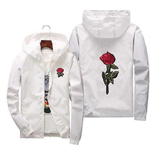 Sunisery Men's Women Casual Hooded Jacket Windbreaker Embroidery Rose Spring Fall Streetwear College Style (XXL, White)