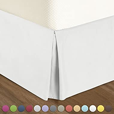 "Nestl Bedding Pleated Bed-Skirt Queen Size – White Luxury Double Brushed 100% Microfiber Dust Ruffle, 14"" inch Tailored Drop, Covers Bed Legs and Frame. By"