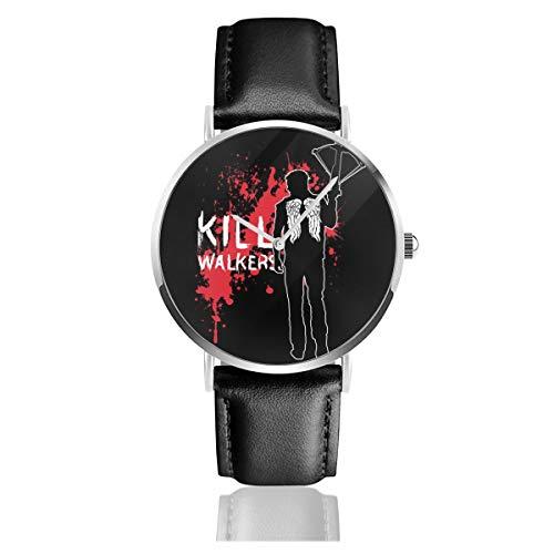 Unisex Business Casual The Walking Dead Daryl Armbrust Uhren Quarz Leder Uhr mit schwarzem Lederband für Männer Frauen Junge Kollektion Geschenk