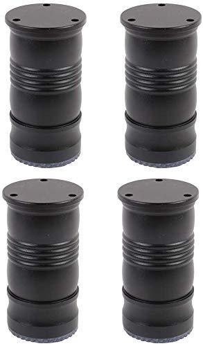 Pies de muebles Patas de muebles metálicos - Negro patas de la mesa redonda de aluminio ajustables - Sofá Piernas - Piernas Gabinete de Apoyo - Sala / baño / Mobiliario de cocina piernas de repuesto,