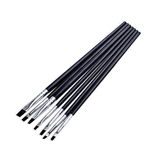 LAMEIDA Nail Art Outils de pinceau Poignée noire Phototherapy Brush Set Stylo tête plate Stylo French Gel Nail Pen Nail Art Design Peinture Dotting Detailing Pen Brush