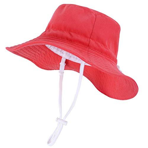 Drawihi Kinder Fischerhut, Orange, Rot, einfarbig, große Krempe, Sonnenschutz, faltbarer Eimer, weiche Baumwolle, Strandhüte, breite Fischer, für Jungen und Mädchen Gr. 6.625, Orange