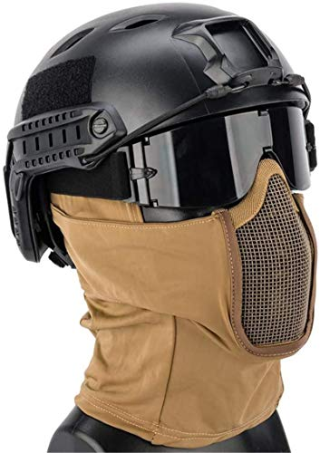 Feeyond Airsoft Tactical Quick Helmet and Full Face Protection Net Cover and Glasses Tactical Set, Collapsible Hunting Shooting Paintball Battle War Game,T