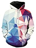 Freshhoodies Unisex 3D Geometrie Hoodie Herren Damen Bunt Rosa Gedruckt Langarm Hooded Kapuzenpullover Pullover Sweatshirts L