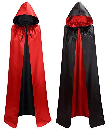 Makroyl Capa con capucha reversible unisex para Navidad, Halloween, fiestas, vampiros cosplay, Negro + rojo, S