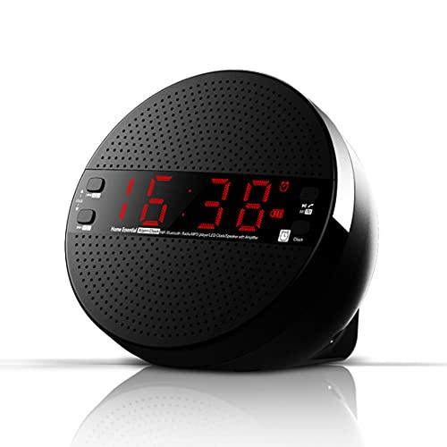 Altavoz Bluetooth inalámbrico, reloj despertador electrónico Subwoofer estéreo Pantalla de inclinación de 25 grados Reproductor de música Soporte TF AUX FM utilizado para sala de estar y dormitorio