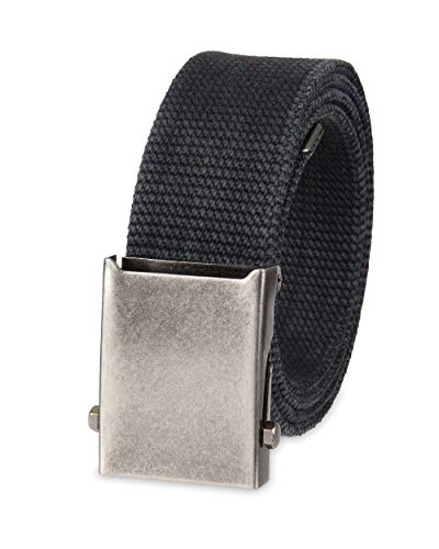 Columbia Men's Military Web Belt - Casual for Jeans Adjustable One Size Cotton Strap and Metal Plaque Buckle,Black,One Size